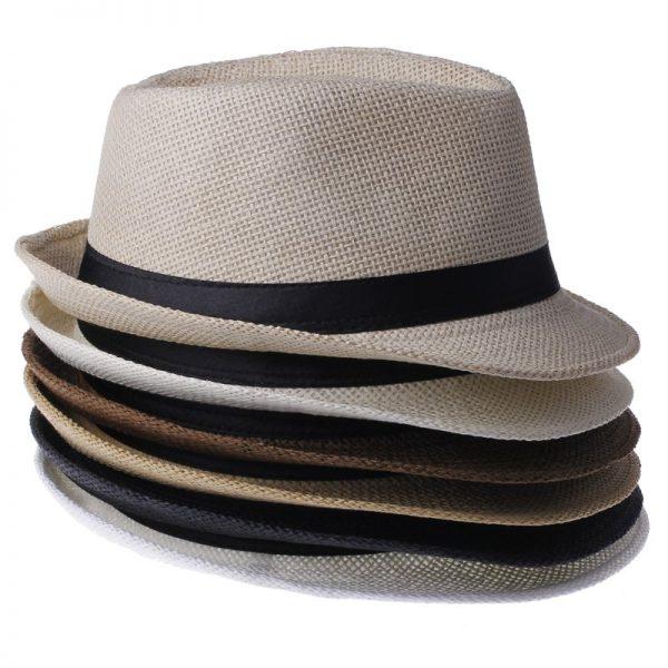 Fashion Summer Straw Men's Sun Hats Fedora Trilby Gangster Cap Summer Beach Cap Panama Hat Sombrero Travel Sunhat 15 4