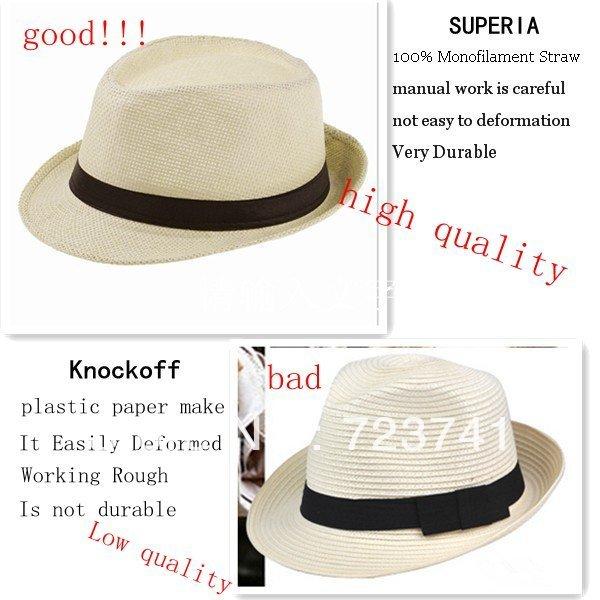 Fashion Summer Straw Men's Sun Hats Fedora Trilby Gangster Cap Summer Beach Cap Panama Hat Sombrero Travel Sunhat 15 12