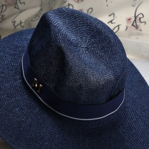 New Maison Michel Straw Hats Wide Brim M Letter Summer Hat Women Chapeu Jazz Trilby Bowler Summer Hats For Women 4