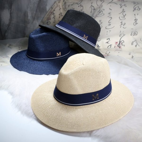 New Maison Michel Straw Hats Wide Brim M Letter Summer Hat Women Chapeu Jazz Trilby Bowler Summer Hats For Women 2