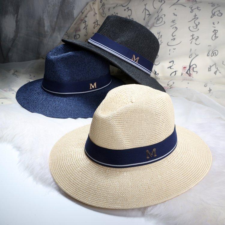 2016 New Maison Michel Straw Hats Wide Brim M Letter Summer Hat Women  Chapeu Jazz Trilby Bowler Summer Hats For Women - Cap shop  22b2a39d09ba