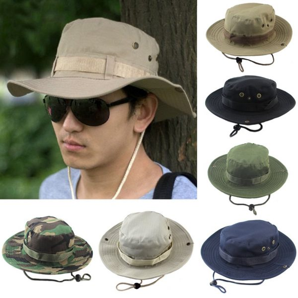 Summer Camo Fisherman Casual Bucket Camping Hiking Travel fishing mountaineering sombrero sunshade Bonnie hat For women men 2