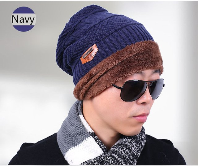 new knitted hat fashion Beanies Knit Men's Winter Hat Caps Skullies Bonnet  For Men Women Beanie Casual Warm Baggy Bouncy 23