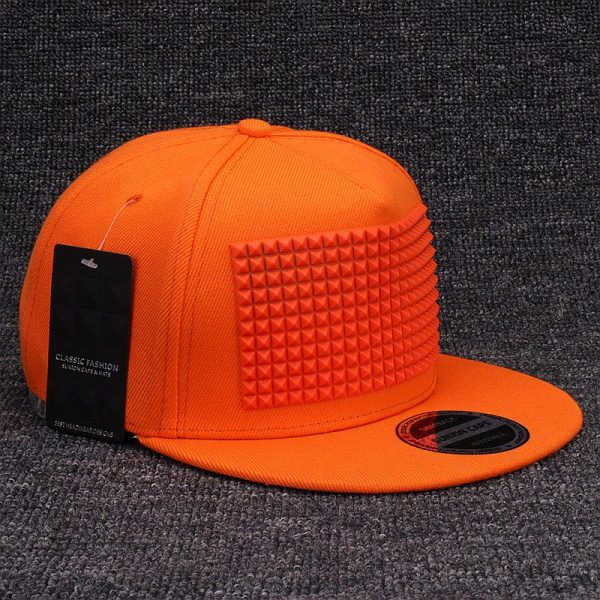 3D snapback cap raised soft silicon square pyramid flat baseball cap 5
