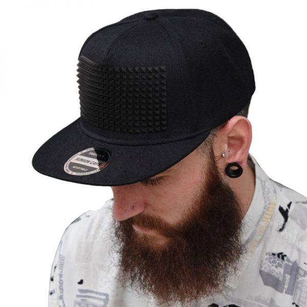 3D snapback cap raised soft silicon square pyramid flat baseball cap 1