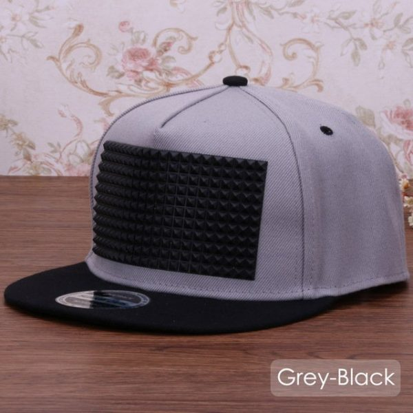 3D snapback cap raised soft silicon square pyramid flat baseball cap 7