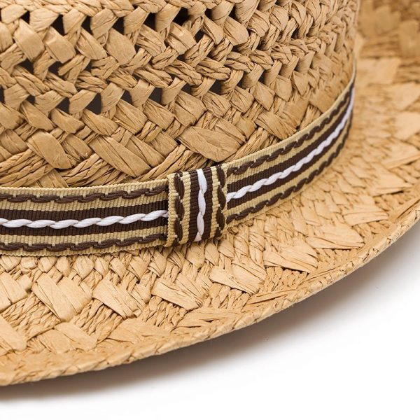 Fashion Handwork Women Summer straw Sun hat Boho Beach Fedora hat Sunhat Trilby Men Panama Hat Gangster Cap Good Pack 25 6