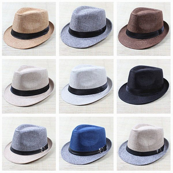Hot Unisex Hat Women Hat Men Gangster Summer Beach Cap Hard Felt Fedora Trilby Panama Jazz Gangster Hats 4