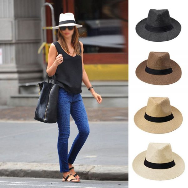 Men Women Fedora Wide Brim Black ribbon patchwork Straw hat Trilby Cap Panama Unisex Summer Beach Sun Hat chapeu feminino Y1 2
