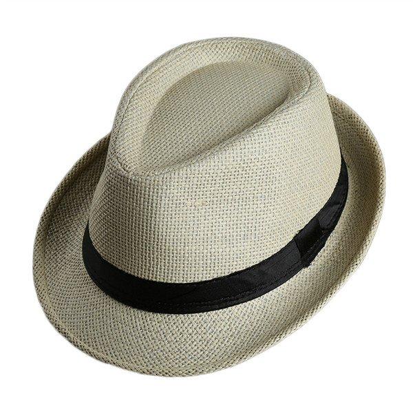 Men Women Fedora Wide Brim Black ribbon patchwork Straw hat Trilby Cap Panama Unisex Summer Beach Sun Hat chapeu feminino Y1 8