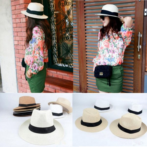 Men Women Fedora Wide Brim Black ribbon patchwork Straw hat Trilby Cap Panama Unisex Summer Beach Sun Hat chapeu feminino Y1 3