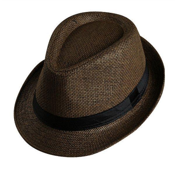 Men Women Fedora Wide Brim Black ribbon patchwork Straw hat Trilby Cap Panama Unisex Summer Beach Sun Hat chapeu feminino Y1 9
