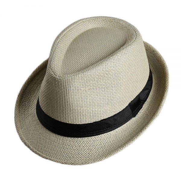 Men Women Fedora Wide Brim Black ribbon patchwork Straw hat Trilby Cap Panama Unisex Summer Beach Sun Hat chapeu feminino Y1 4