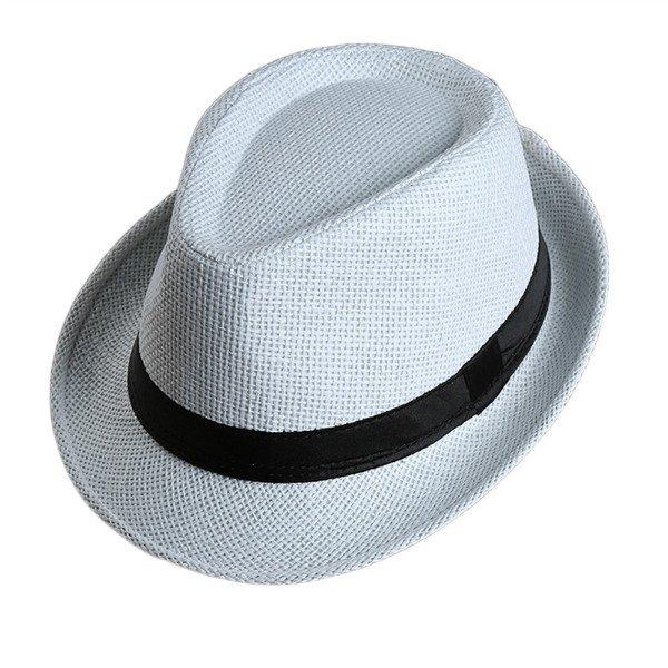 Men Women Fedora Wide Brim Black ribbon patchwork Straw hat Trilby Cap Panama Unisex Summer Beach Sun Hat chapeu feminino Y1 10