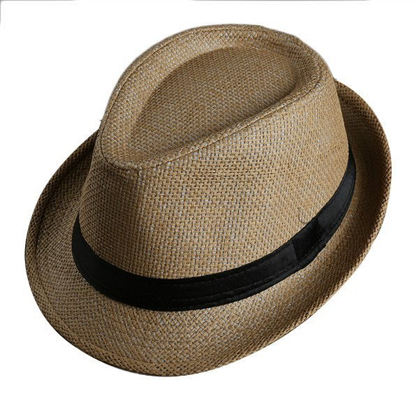 Men Women Fedora Wide Brim Black ribbon patchwork Straw hat Trilby Cap Panama Unisex Summer Beach Sun Hat chapeu feminino Y1 11