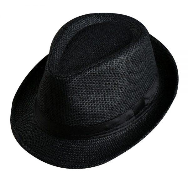Men Women Fedora Wide Brim Black ribbon patchwork Straw hat Trilby Cap Panama Unisex Summer Beach Sun Hat chapeu feminino Y1 6