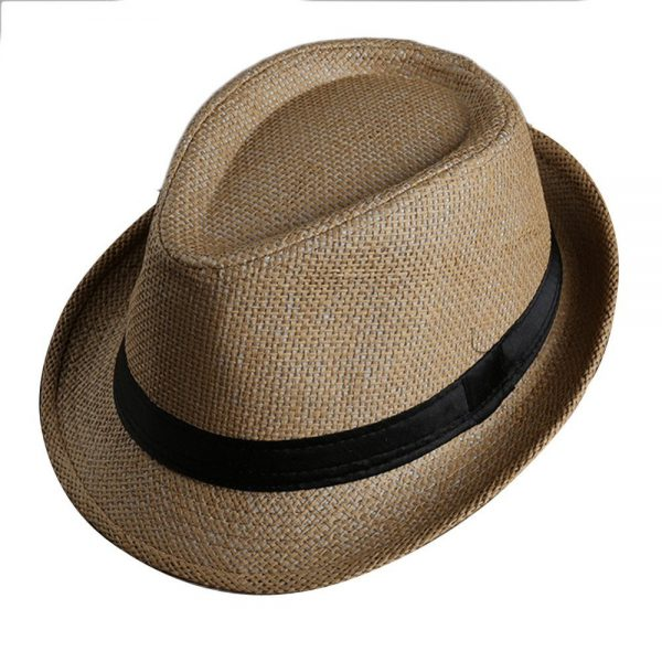 Men Women Fedora Wide Brim Black ribbon patchwork Straw hat Trilby Cap Panama Unisex Summer Beach Sun Hat chapeu feminino Y1 1