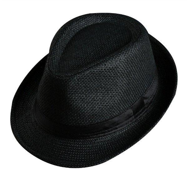 Men Women Fedora Wide Brim Black ribbon patchwork Straw hat Trilby Cap Panama Unisex Summer Beach Sun Hat chapeu feminino Y1 7