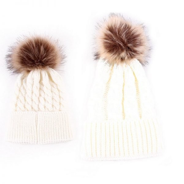Mom and Baby Matching Knitted Hats Warm Fleece Crochet Beanie Hats Winter Mink PomPom Kids Children Mommy Headwear Hat Caps 8