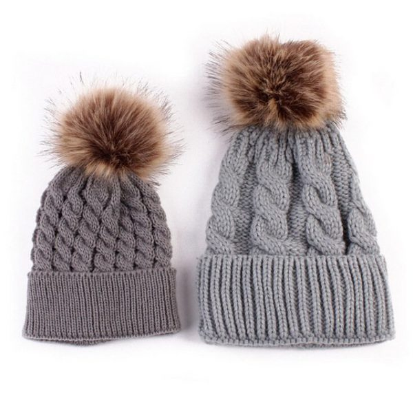 Mom and Baby Matching Knitted Hats Warm Fleece Crochet Beanie Hats Winter Mink PomPom Kids Children Mommy Headwear Hat Caps 22