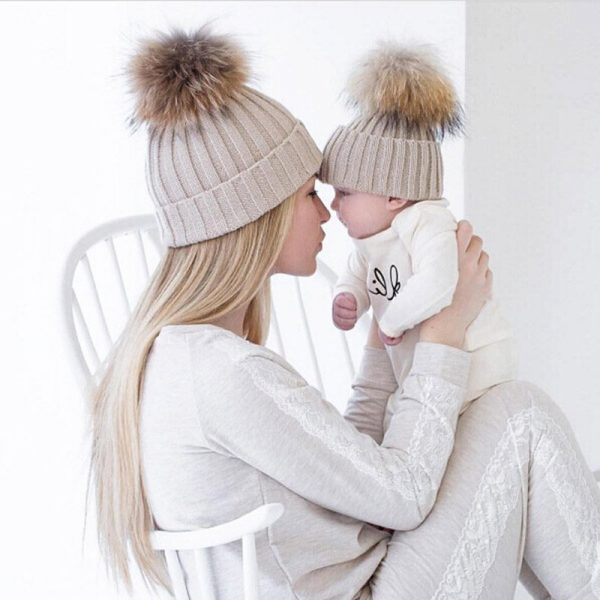 Mom and Baby Matching Knitted Hats Warm Fleece Crochet Beanie Hats Winter Mink PomPom Kids Children Mommy Headwear Hat Caps 2