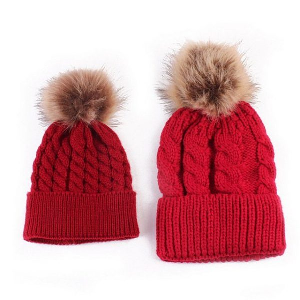 Mom and Baby Matching Knitted Hats Warm Fleece Crochet Beanie Hats Winter Mink PomPom Kids Children Mommy Headwear Hat Caps 14