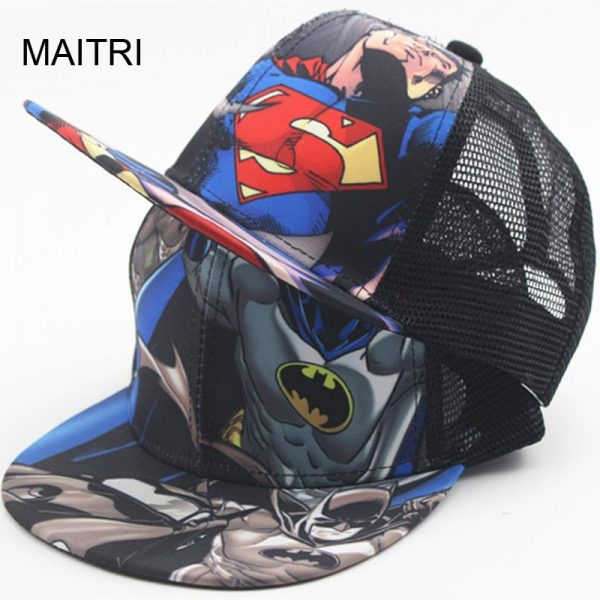 New Kids Baseball Caps Fashion Superman Batman Children Snapback Caps Gorras Planas Boys Hip Hop Hat Mesh Summer Hats 2318 2