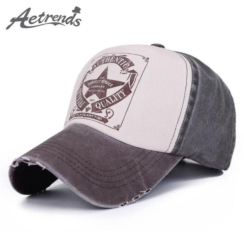 826840e1182 AETRENDS  6 Colors ! Star Patchwork Baseball Cap Men or Women Polo ...