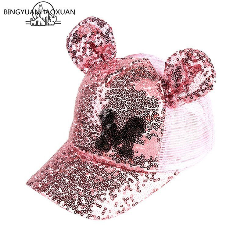Hot Sequins Ear Hats Kids Snapback Baseball Cap With Ears Funny Hats Spring Summer Hip Hop Boy Hats Caps 5