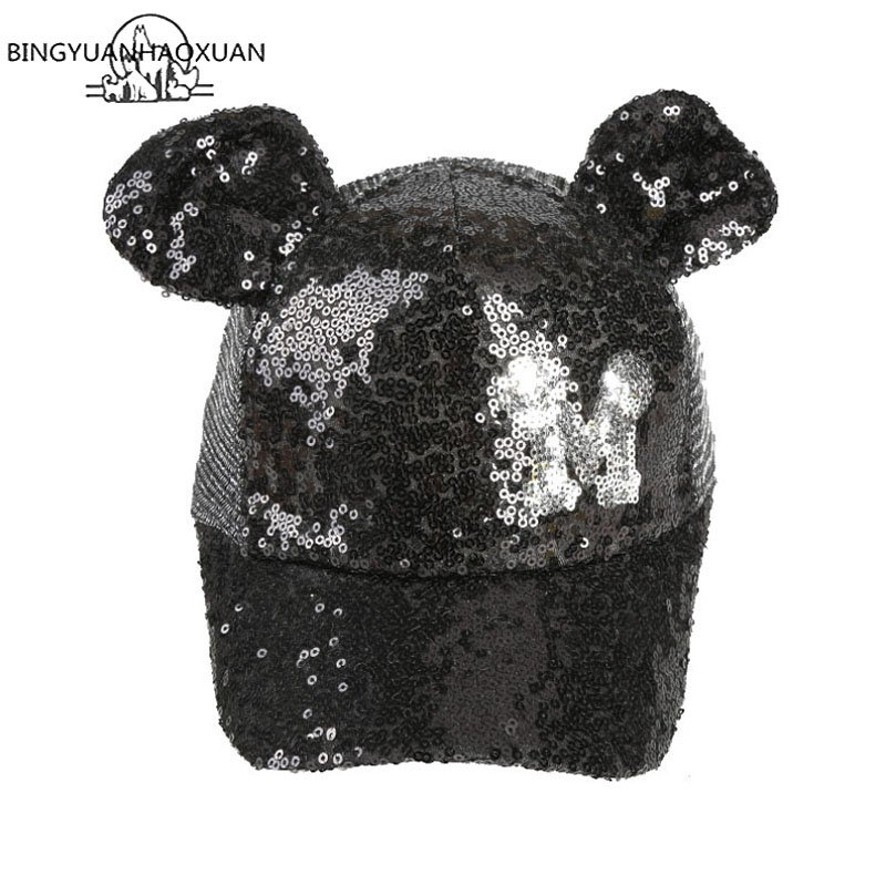 Hot Sequins Ear Hats Kids Snapback Baseball Cap With Ears Funny Hats Spring Summer Hip Hop Boy Hats Caps 9