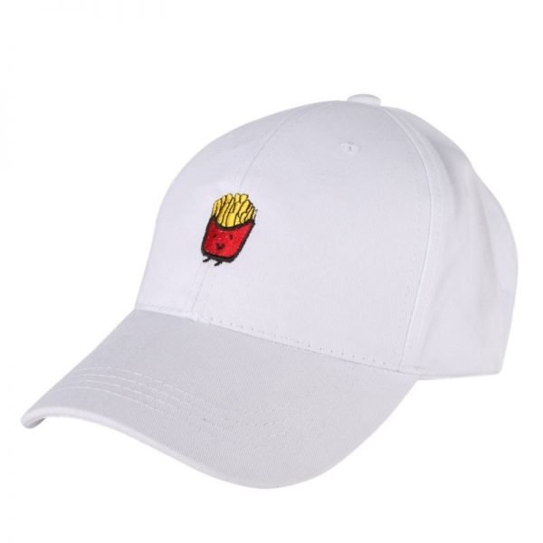 Cute French Fries Embroidery Baseball Cap Women Men Hip Hop Curved Snapback Trucker Hat Summer Cap Black White Pink Blue 4