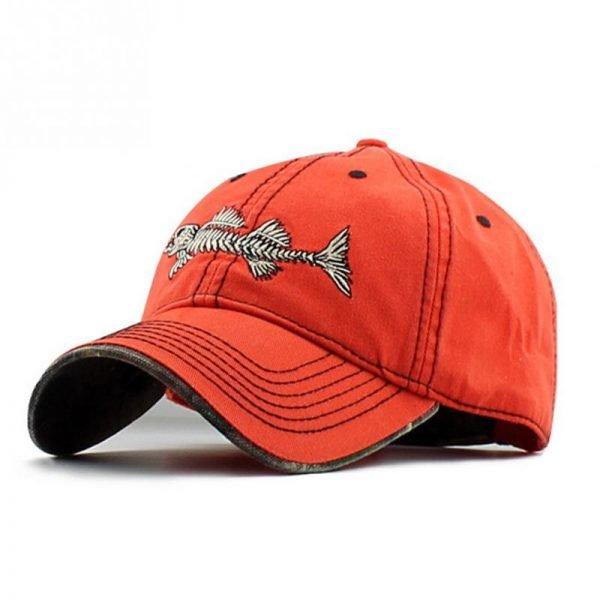 Embroidery fish Black unisex casual brand baseball hats men fashion fish bone pattern baseball caps snapback hat 2017 6