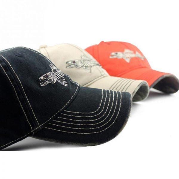Embroidery fish Black unisex casual brand baseball hats men fashion fish bone pattern baseball caps snapback hat 2017 8