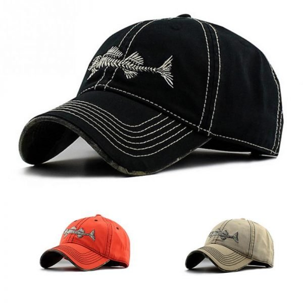 Embroidery fish Black unisex casual brand baseball hats men fashion fish bone pattern baseball caps snapback hat 2017 10