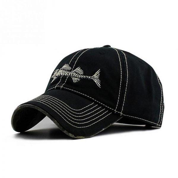 Embroidery fish Black unisex casual brand baseball hats men fashion fish bone pattern baseball caps snapback hat 2017 2