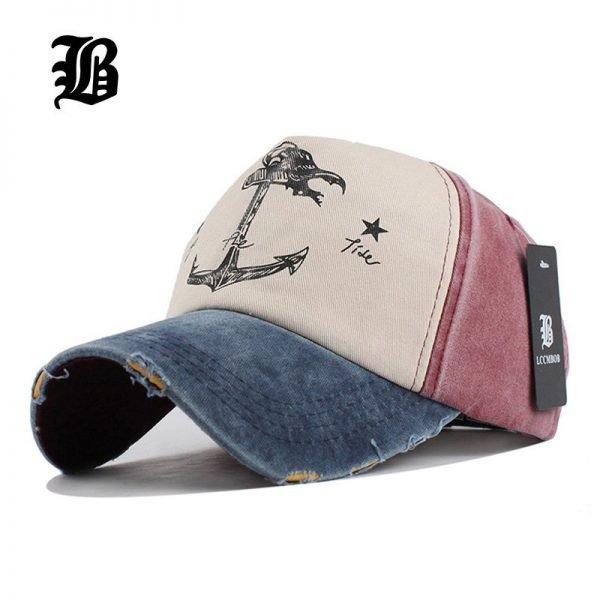[FLB] 5 panel hip hop snapback hats couples hat Man Woman pure cotton baseball caps do old pirate ship anchor gorras wash cap 2