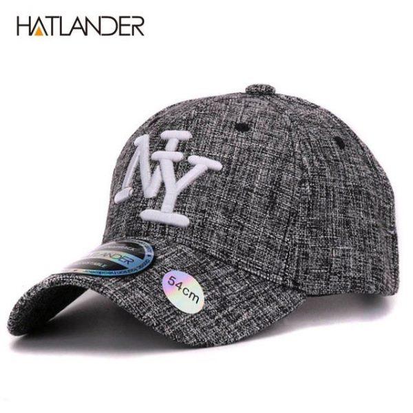 HATLANDER kids cotton linen baseball caps for boys girls outdoor sun hats NY letter adjustable casual children sports cap 14