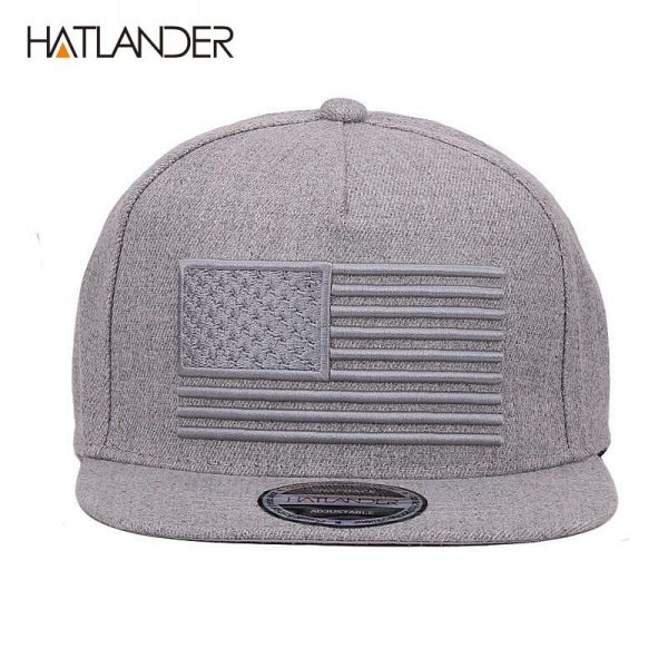 [HATLANDER] Raised flag embroidery cool flat bill baseball cap mens gorras snapbacks 3D flag hat ourdoor hip hop snapback caps 4