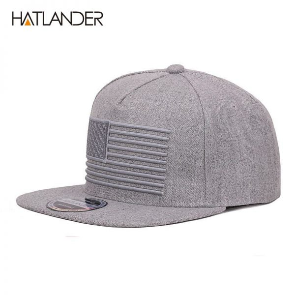 [HATLANDER] Raised flag embroidery cool flat bill baseball cap mens gorras snapbacks 3D flag hat ourdoor hip hop snapback caps 6