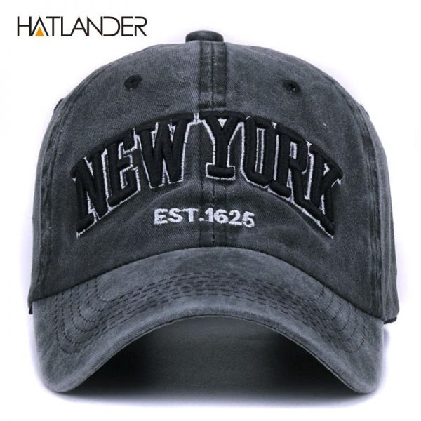 [HATLANDER]Sand washed 100% cotton baseball cap hat for women men vintage dad hat NEW YORK embroidery letter outdoor sports caps 4