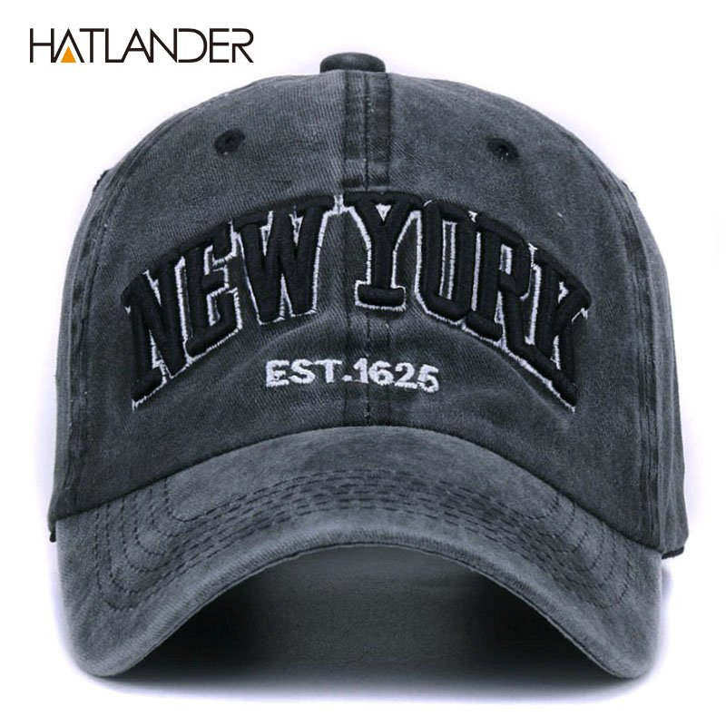 [HATLANDER]Sand washed 100% cotton baseball cap hat for women men vintage dad hat NEW YORK embroidery letter outdoor sports caps 3