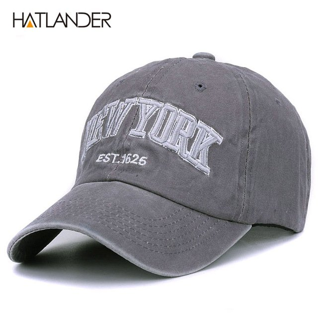 [HATLANDER]Sand washed 100% cotton baseball cap hat for women men vintage dad hat NEW YORK embroidery letter outdoor sports caps 18