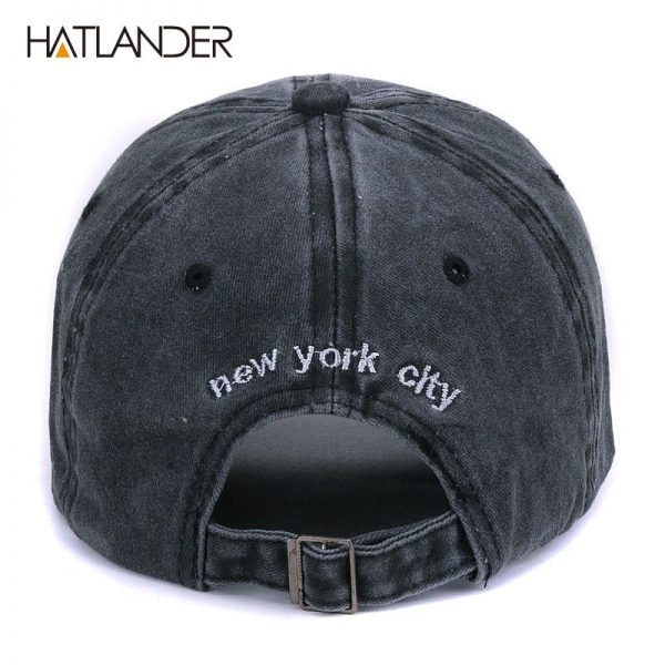 [HATLANDER]Sand washed 100% cotton baseball cap hat for women men vintage dad hat NEW YORK embroidery letter outdoor sports caps 8