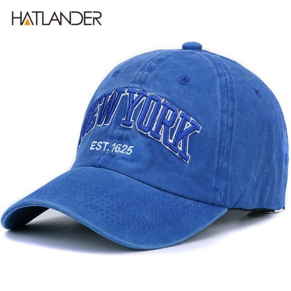 [HATLANDER]Sand washed 100% cotton baseball cap hat for women men vintage dad hat NEW YORK embroidery letter outdoor sports caps 22