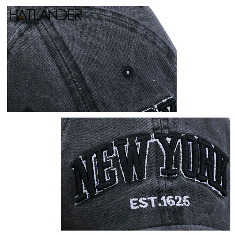 [HATLANDER]Sand washed 100% cotton baseball cap hat for women men vintage dad hat NEW YORK embroidery letter outdoor sports caps 11