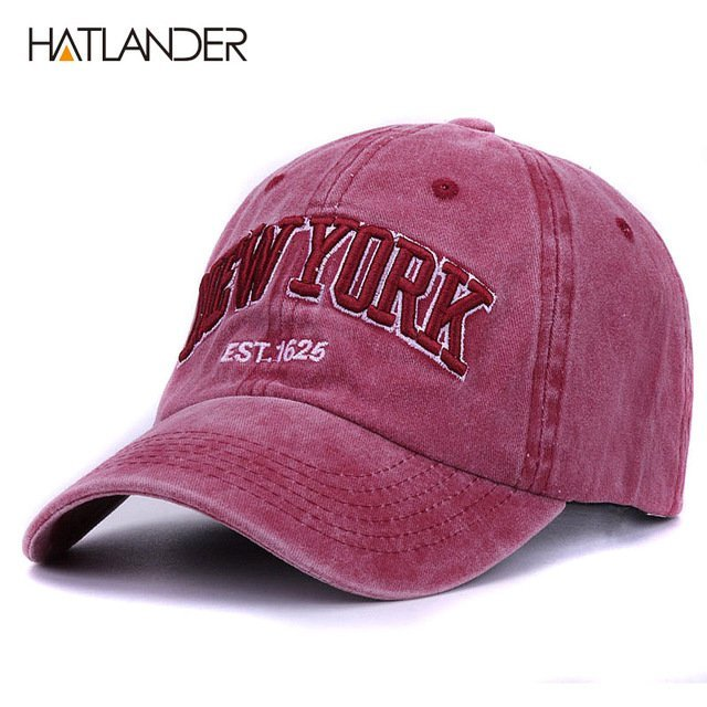 [HATLANDER]Sand washed 100% cotton baseball cap hat for women men vintage dad hat NEW YORK embroidery letter outdoor sports caps 24
