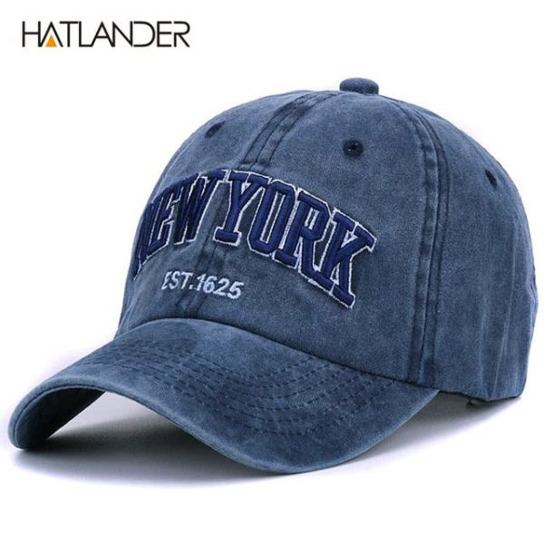 [HATLANDER]Sand washed 100% cotton baseball cap hat for women men vintage dad hat NEW YORK embroidery letter outdoor sports caps 26