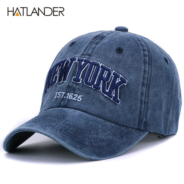 [HATLANDER]Sand washed 100% cotton baseball cap hat for women men vintage dad hat NEW YORK embroidery letter outdoor sports caps 25