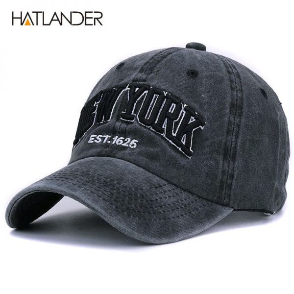 [HATLANDER]Sand washed 100% cotton baseball cap hat for women men vintage dad hat NEW YORK embroidery letter outdoor sports caps 2