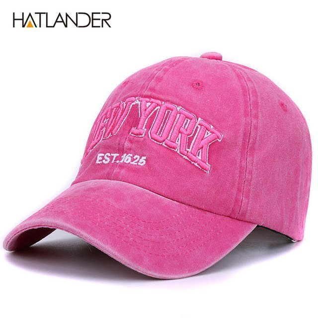 [HATLANDER]Sand washed 100% cotton baseball cap hat for women men vintage dad hat NEW YORK embroidery letter outdoor sports caps 28